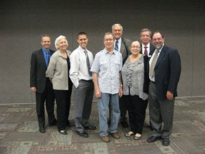 The Aquifer Protectors! From L to R, Eric Allmon (attorney for Environmental Stewardship), Michele Gangnes (pro bono attorney for landowners Meyer, Hanna and Brown), Andy Meyer (Paige landowner), Darwyn Hanna (Bastrop landowner), Ernie Bogart (pro bono attorney for landowners Meyer, Hanna and Brown), Betz Brown (Lee County landowner), Don Grissom (pro bono attorney for landowners Meyer, Hanna and Brown), Steve Box (Executive Director Environmental Stewardship)